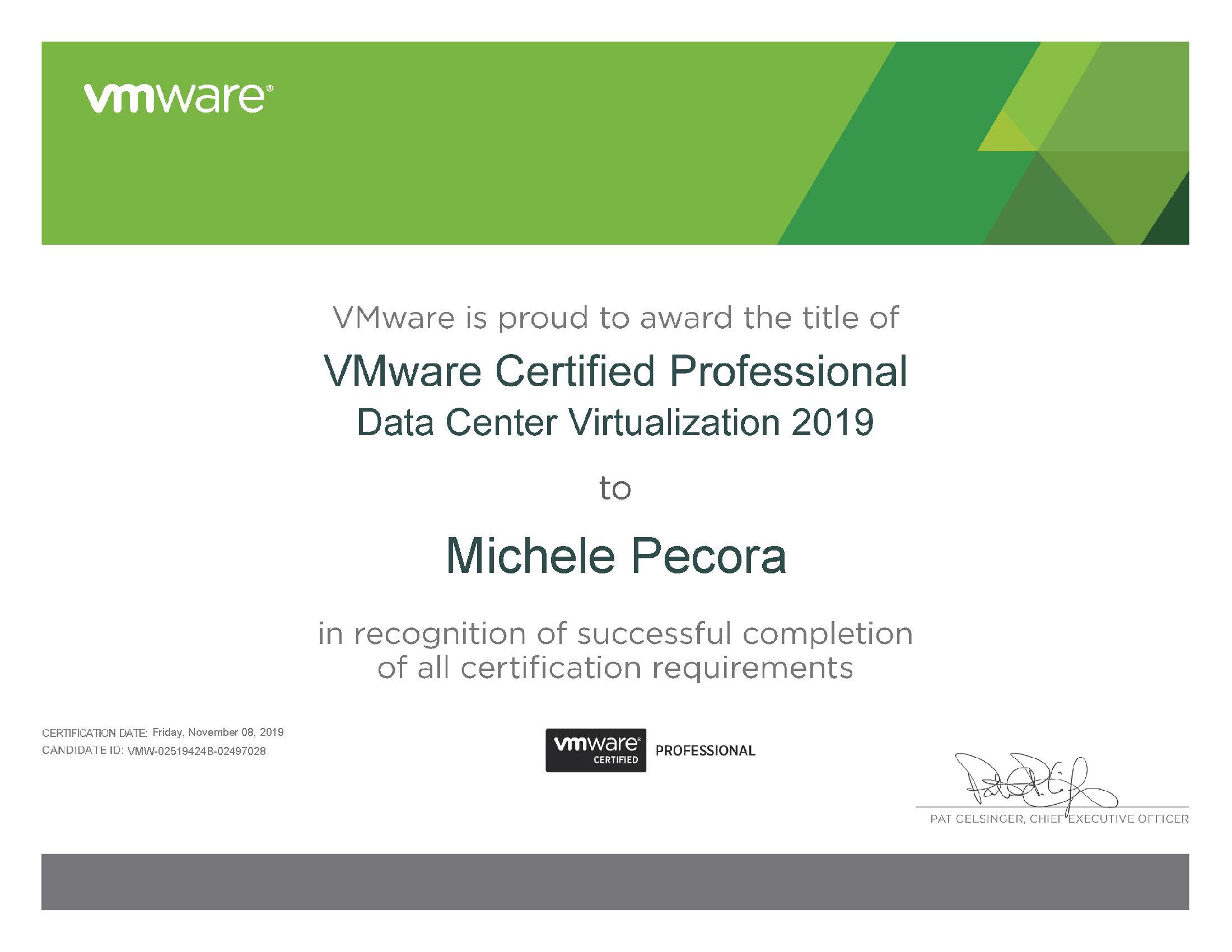 Michele Pecora | VMware Certified Professional - Data Center Virtualization 2019 certificate (1)